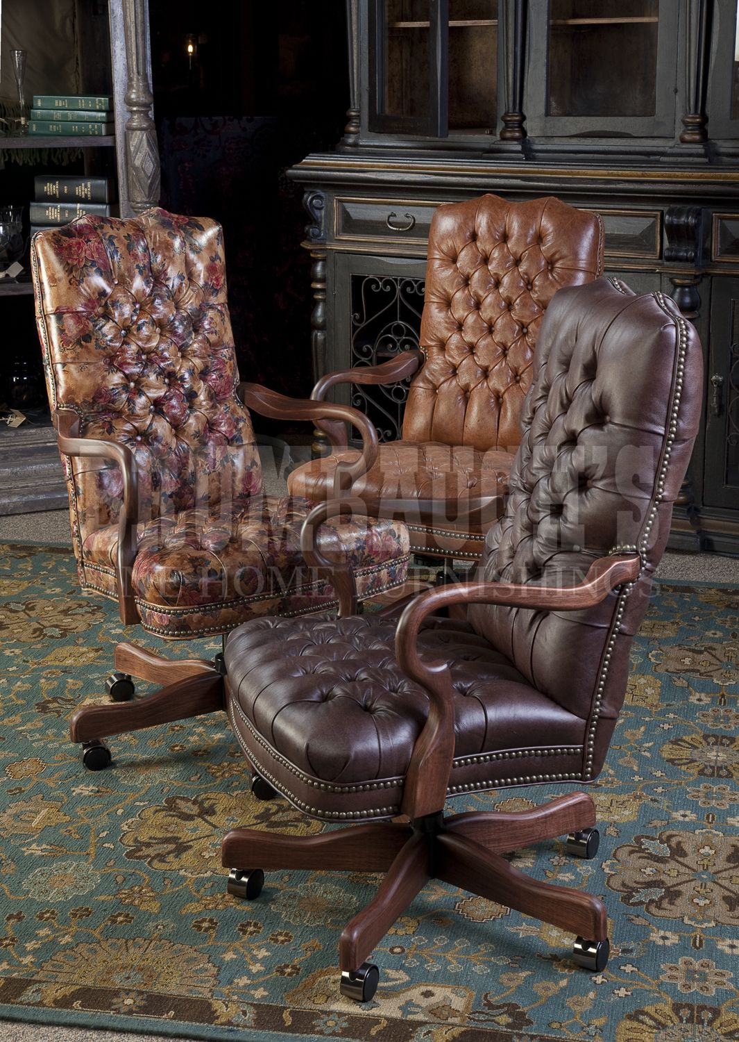 Leather Tufted Executive Chairs Dining chairs for sale