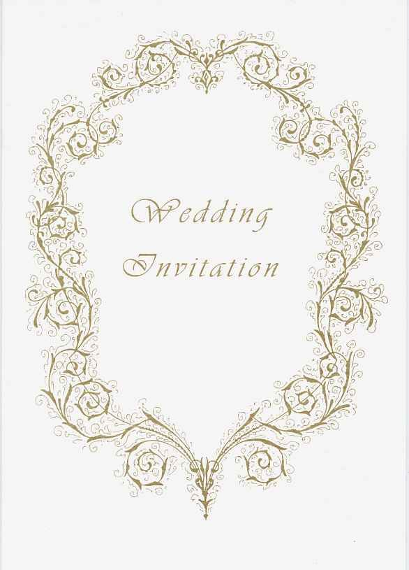 Invitation Front Cover In Arabesque Renaissance Style Gold Ink
