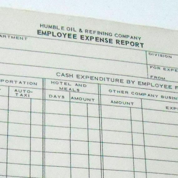 Vintage S Humble Oil Employee Expense Report Gasoline  Humble