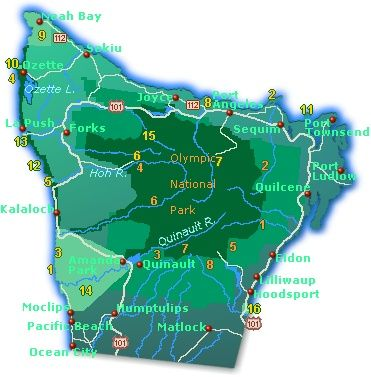 Town And Road Map Of Olympic Peninsula Washington State Showing
