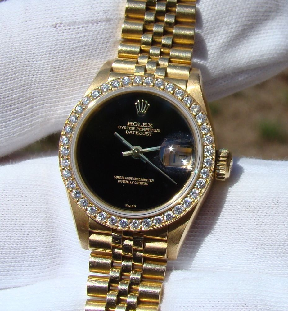 Rolex Damenuhr Rolex 18k Gold Automatic Datejust President Watch Onyx Dial