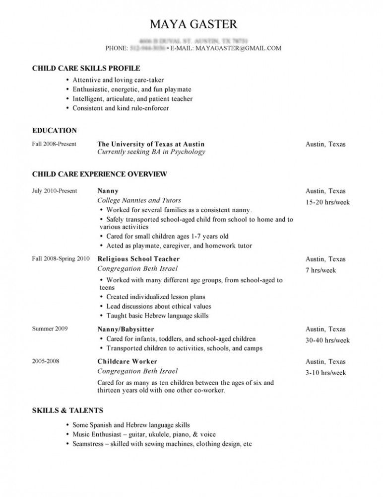 Resume For A Nanny Sample Nanny Resume Cover Letter Babysitter List