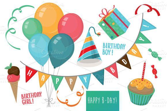 Happy Birthday vector set Illustrations