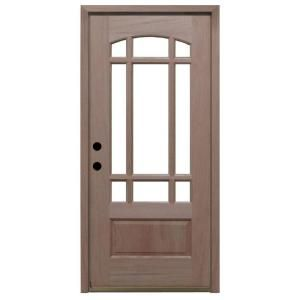 Steves Sons Craftsman 9 Lite Arch Unfinished Mahogany Wood Entry Door M3159 6 UF MJ 4RH At The Home Depot