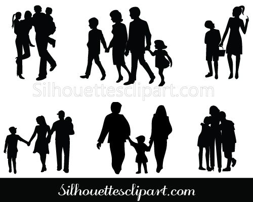 Family Silhouette Clip Art Pack Silhouette Clip Art Silhouette Clip Art Family Vector Sillouette Art
