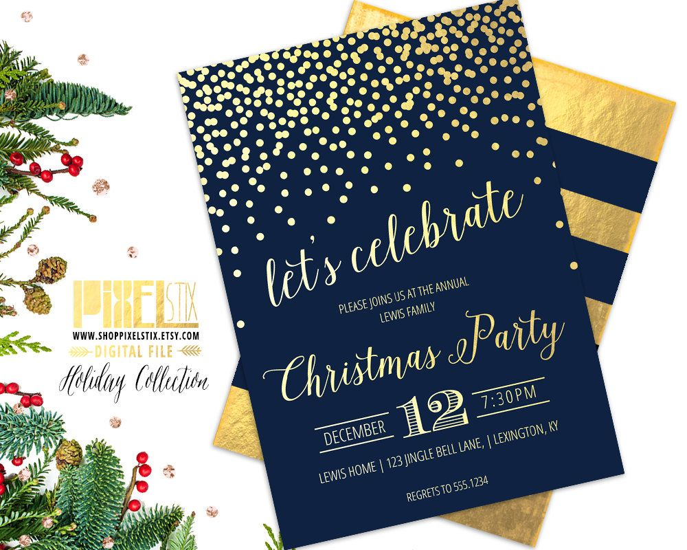 Christmas Party Invitation - New Years Party Invite - Gold Foil ...