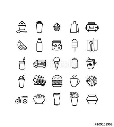 Des pictos pour illustrer des recettes ou cartes de restaurant et aussi les food truck icons - Pictogramme cuisine gratuit ...