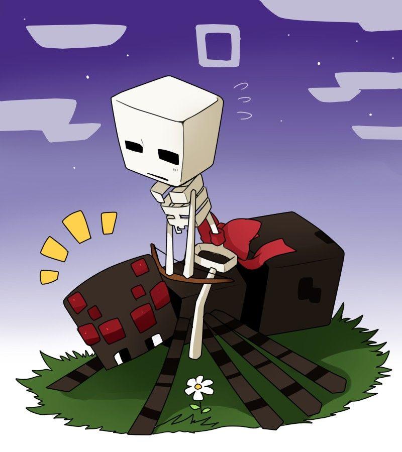 Skelie And Spider Minecraft Fan Art Minecraft Creations