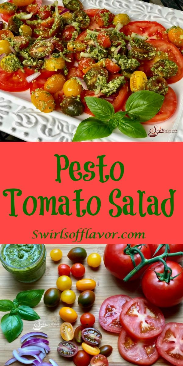 Pesto Tomato Salad Pesto Tomato Salad is an easy 4 ingredient recipe. Garden fresh tomatoes and red onion are tossed in a homemade pesto transforming juicy tomatoes into a recipe that's bursting with fresh flavor and summertime goodness.