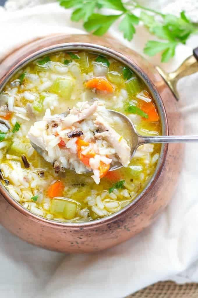 Wild Rice and Leftover Turkey Soup This healthy and easy Wild Rice and Leftover Turkey Soup is a simple, wholesome and delicious dinner that takes advantage of your holiday leftovers! Don't have turkey on hand? Use chicken instead! Homemade Soup Recipes | Leftover Turkey Recipes | Healthy Dinner Recipes