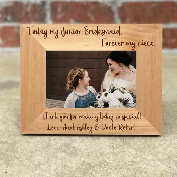 Personalized Junior Bridesmaid Picture Frame, Wedding Gift