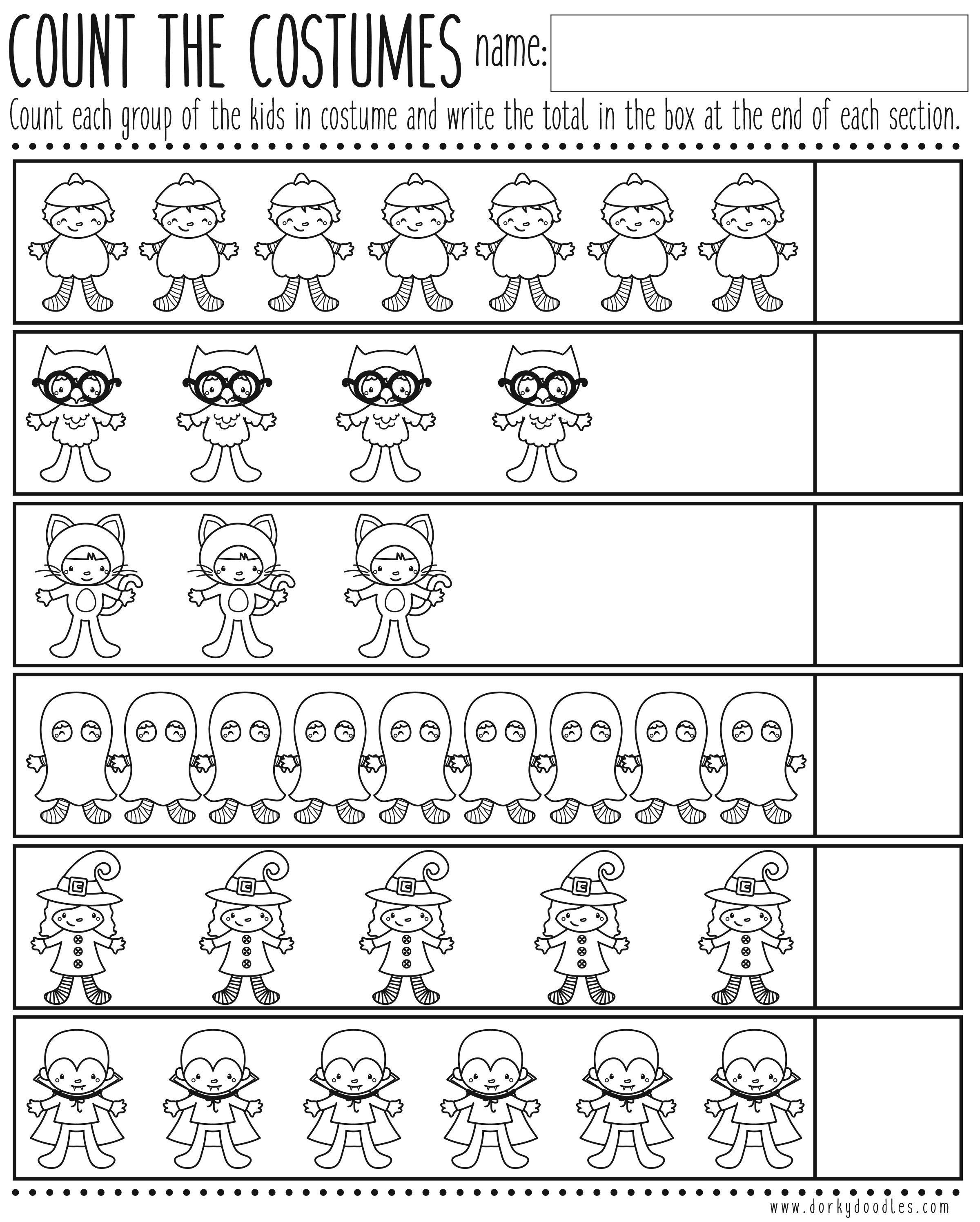Count The Costumes Printable Worksheet Kindergarten Fall
