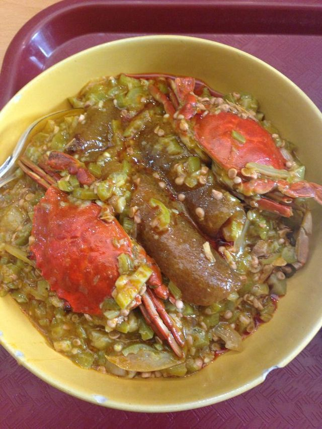 Ghanaian style cooked Okra Stew with <a class=