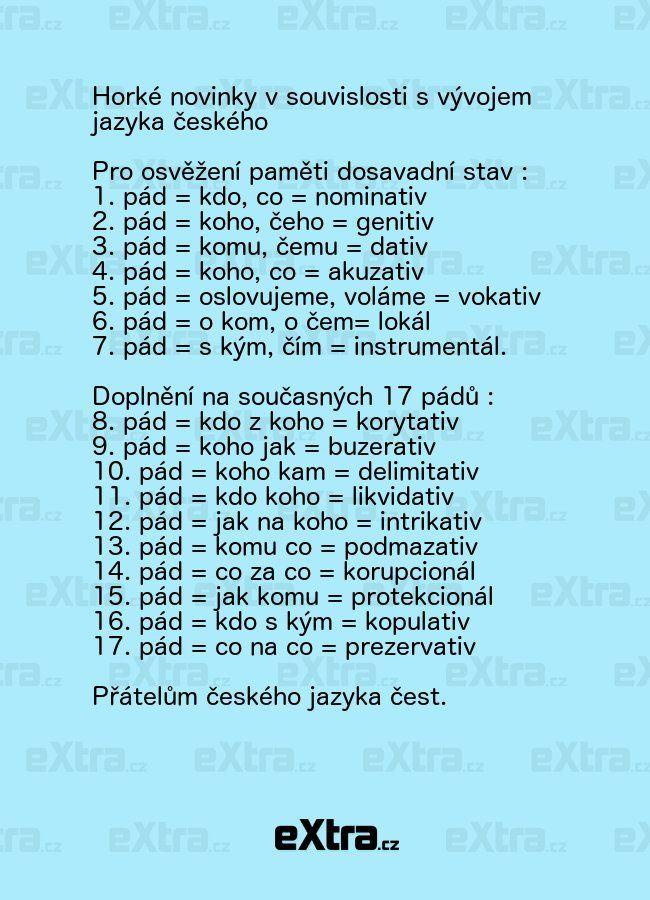 Sedm pádů zná každý, ale znáte všech sedmnáct?   eXtra.cz