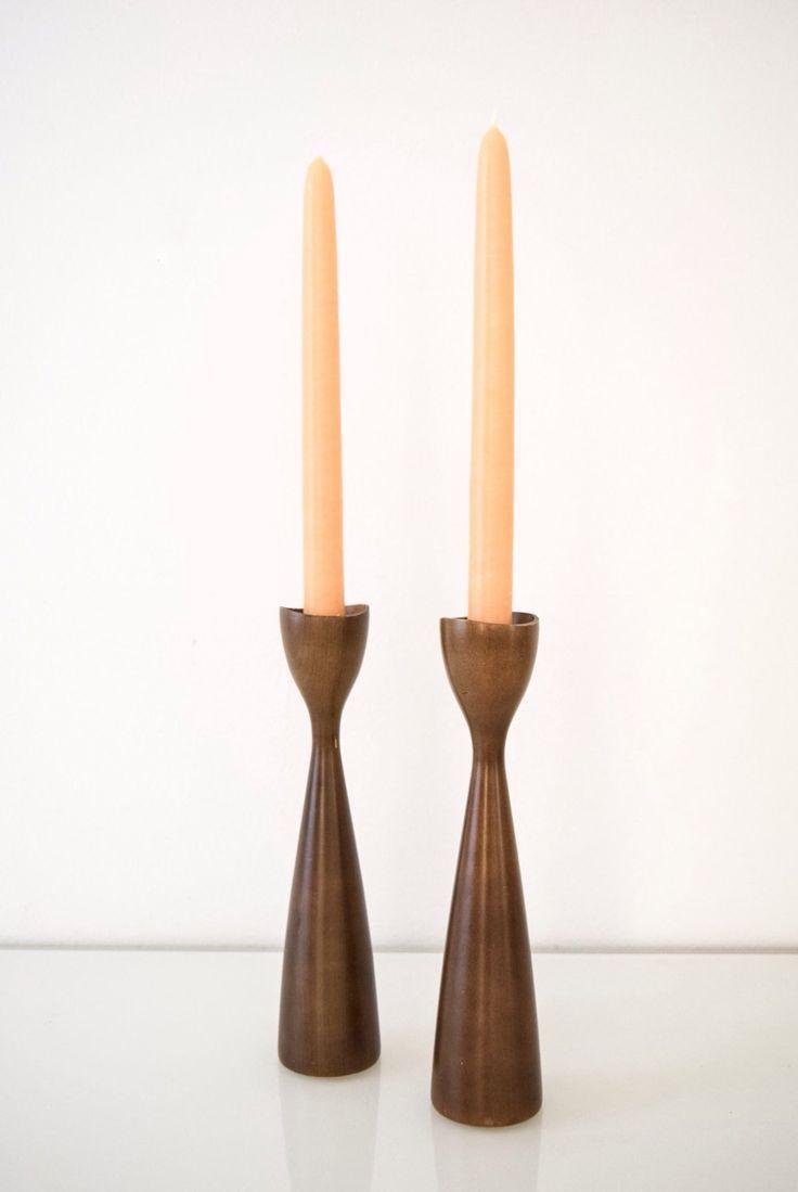 Danish Modern Wooden Candlesticks Pair