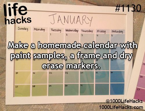 Make a homemade calendar with paint samples, a frame and dry erase
