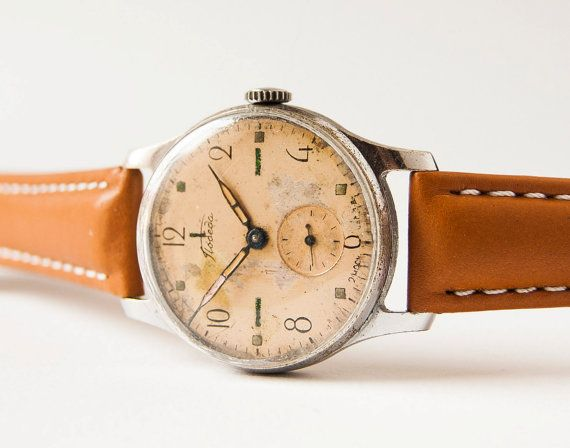 Antique men's wristwatch Pobeda  watch Soviet rare  by SovietEra, $67.00