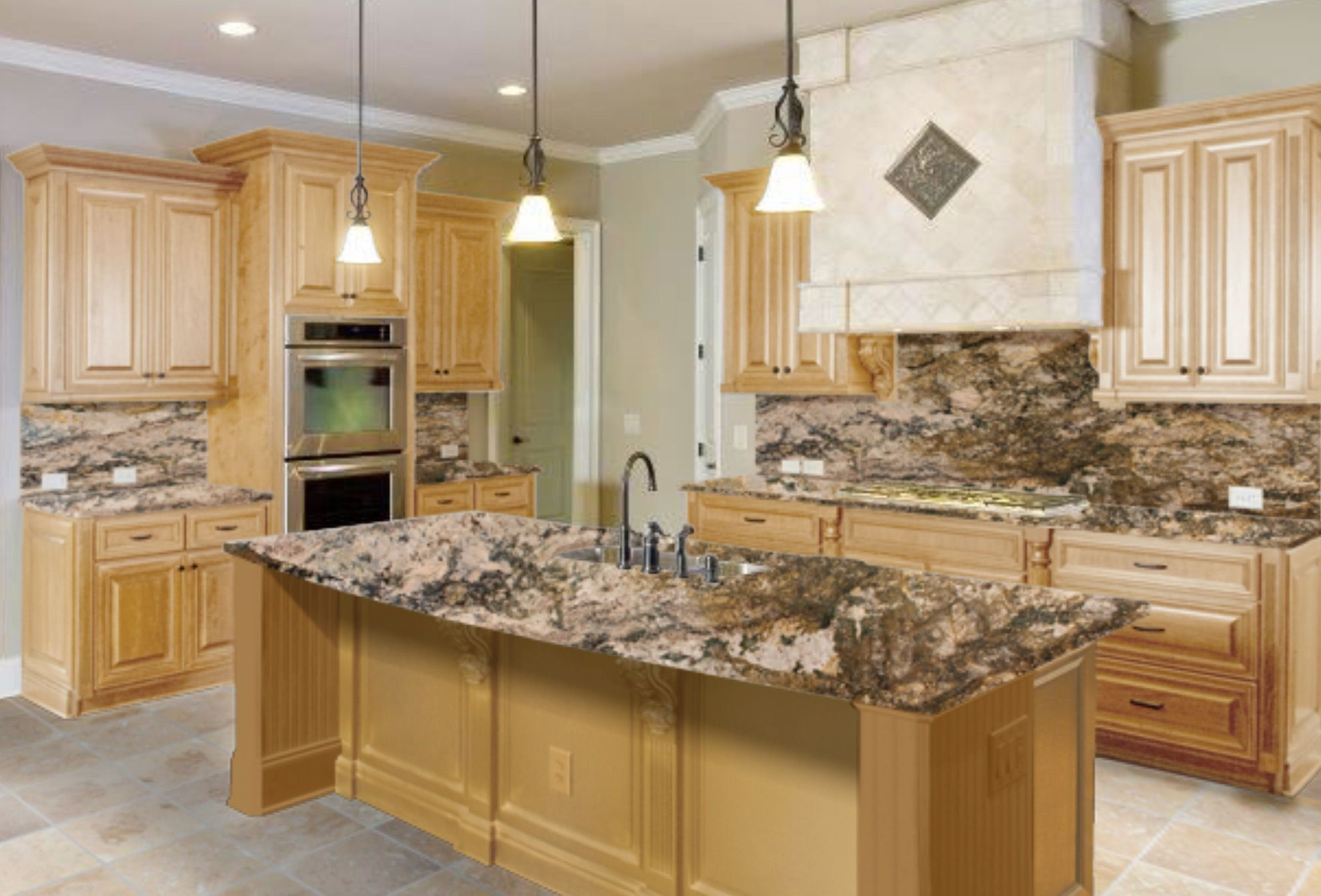 light brown cabinets with granite countertops on a budget ... on Light Maple Cabinets With White Countertops  id=59311