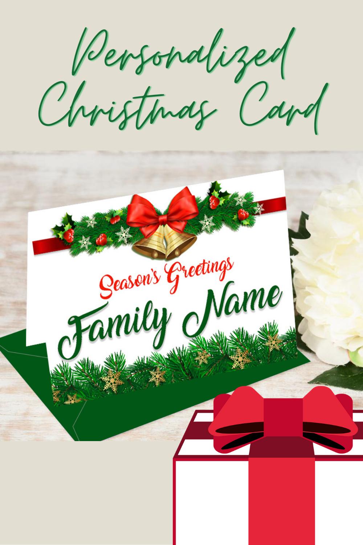 Greeting Card Set Personalized Name Folding Christmas Card Xmas