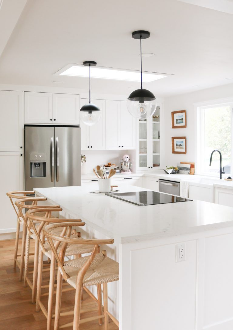 Our Brand New Modern Kitchen Remodel Before After Photos Our Mishaps And Good Moves Sparks And Bloom Modern Kitchen Remodel White Modern Kitchen Kitchen Remodel