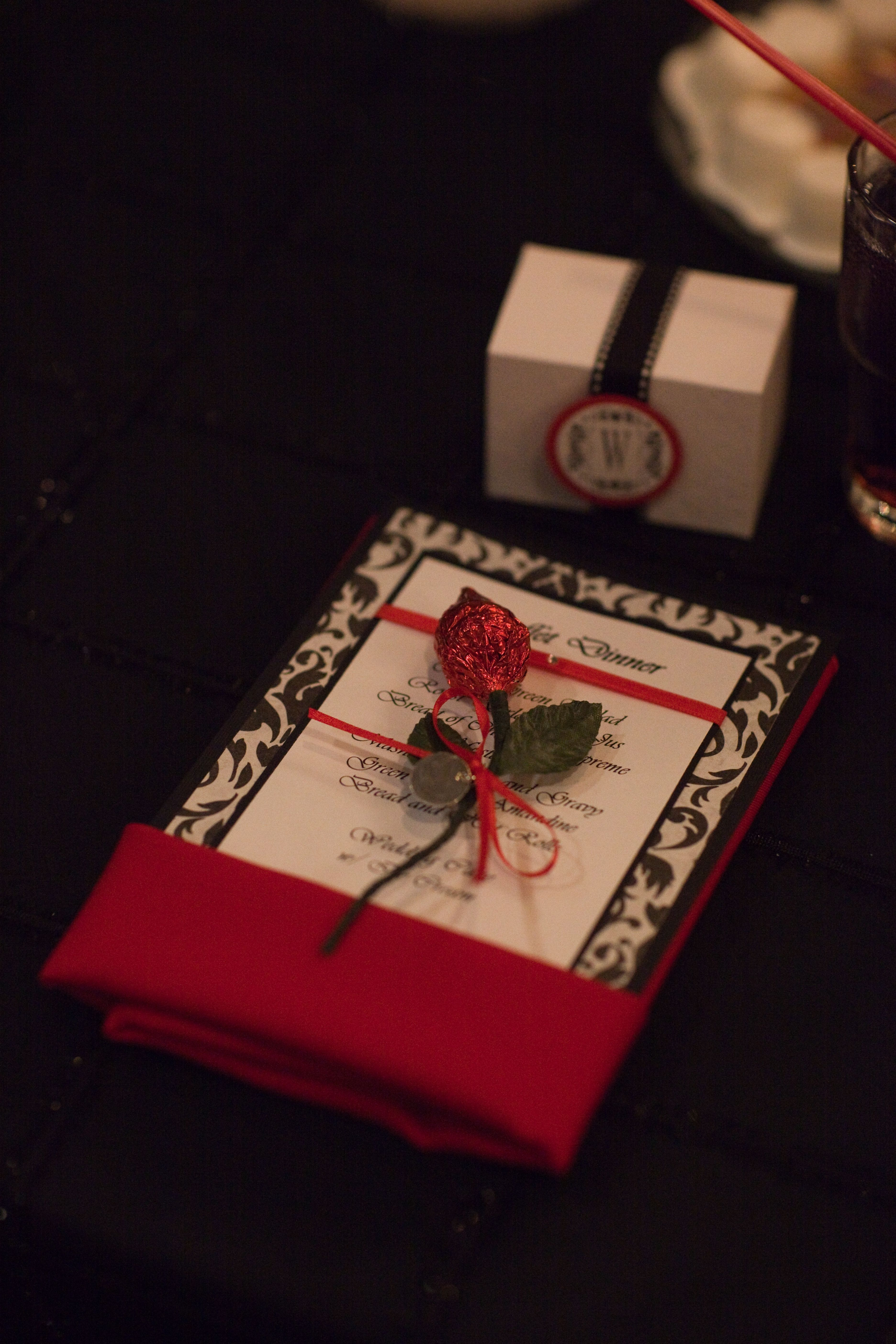 Red Black White Wedding Menu Card Made Candy Roses Out Of Hershey Kisses