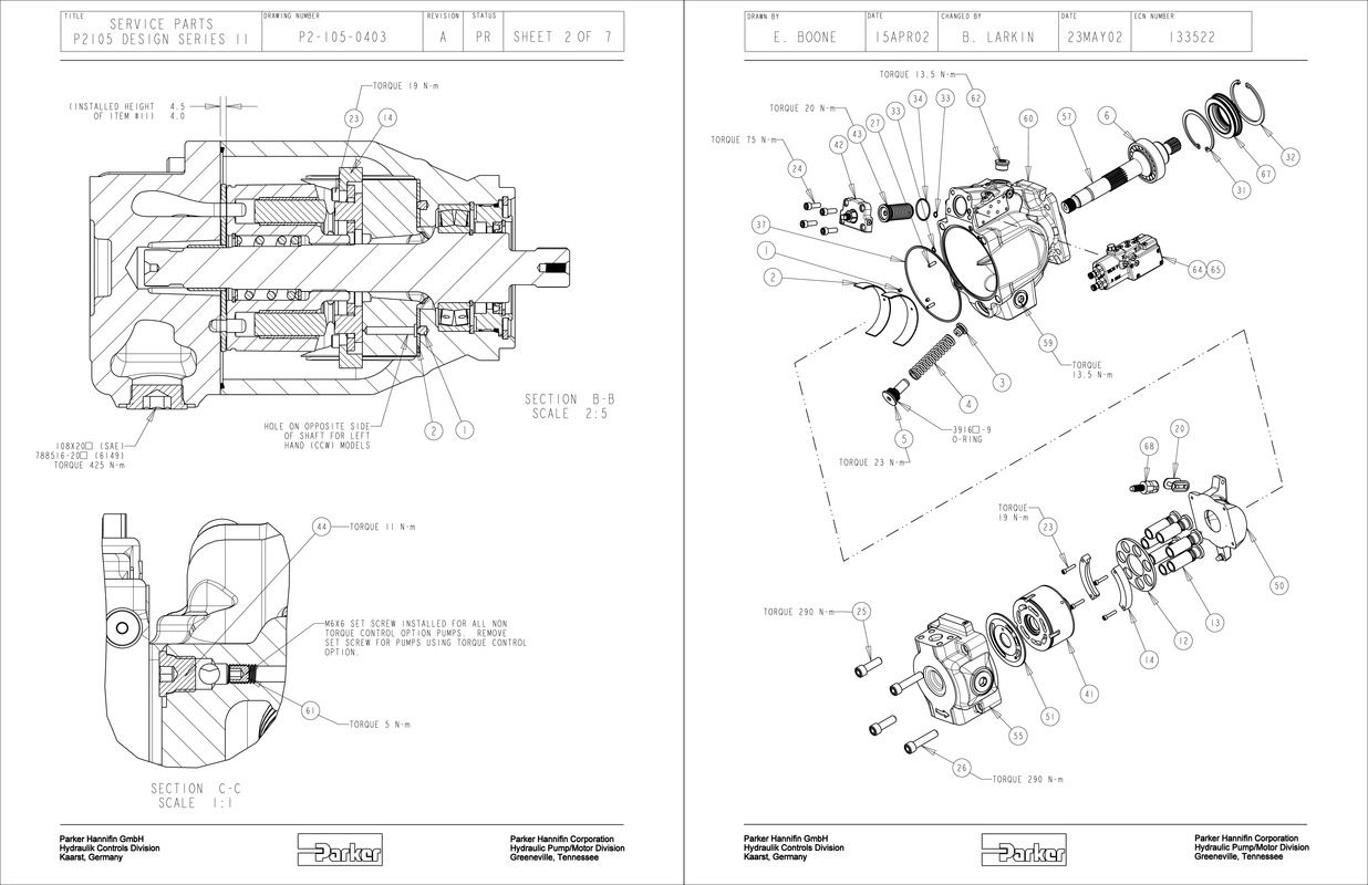 Hydraulic Pump Parts Catalog Back Parker P2105 Piston Wiring Diagram Pumps Service Literature
