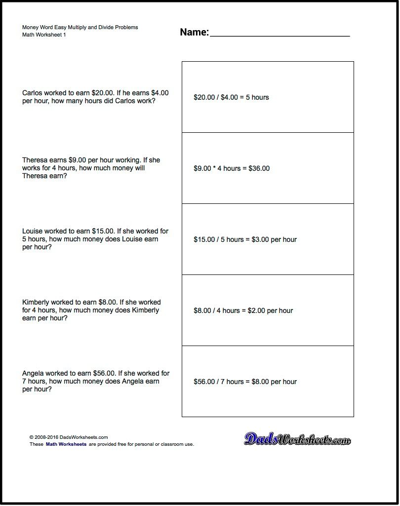 Multiplication Worksheet And Division Worksheet Money Word Problems