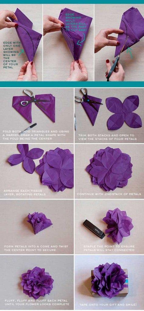 como fazer embrulho presente natal flor papel