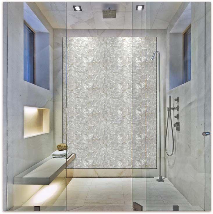 White Brick Groutless Pearl Shell Tile