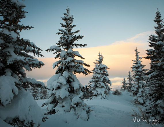 A Winter Sunset Over Snow Covered Pines In Park City Utah Photo By Alg Raw Images Mountain Nature Landscape Photography Photography Wall Art Winter Sunset