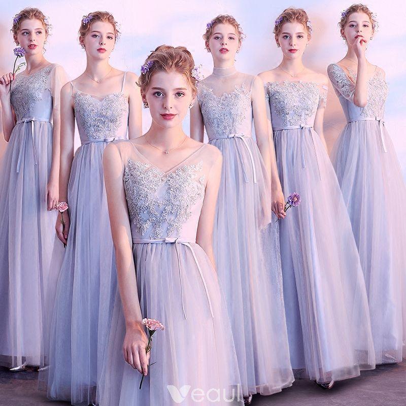 e7aaaaf60 Asequible Gris Transparentes Vestidos De Damas De Honor 2018 A-Line    Princess Apliques Con Encaje Cinturón La altura del tobillo Ruffle Sin  Espalda ...
