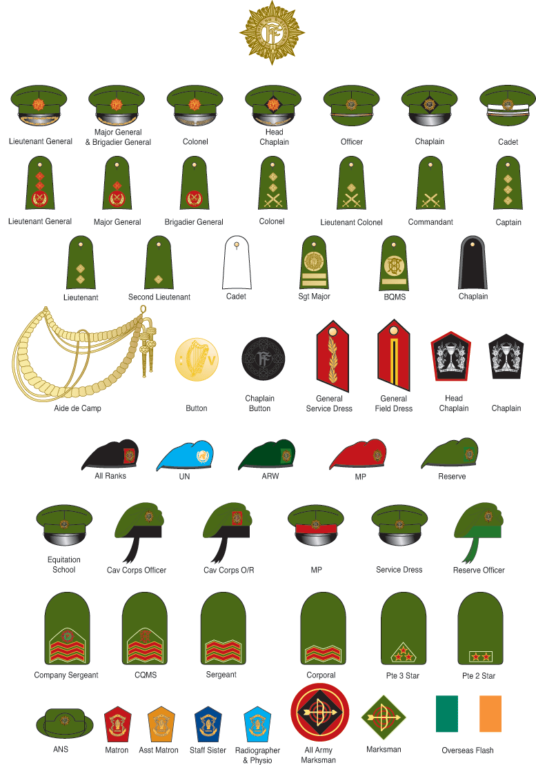 This Is The Military Insignia Of The Irish Army Military Ranks Military Insignia Army Ranks