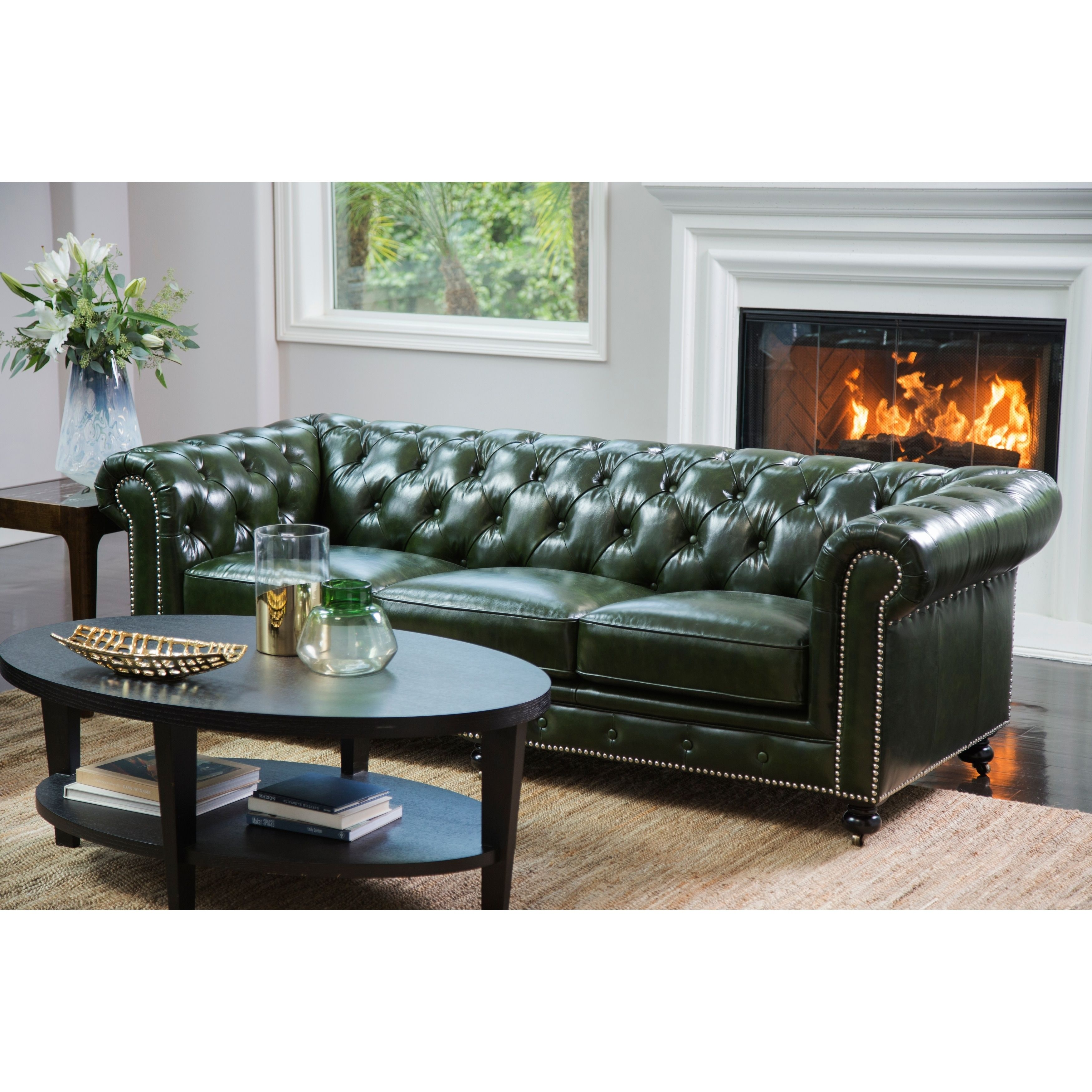 Abbyson Virginia Green Waxed Leather Chesterfield Sofa