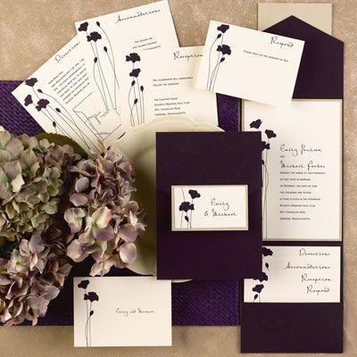 2013 Wedding Invitation Trend - Blooming Blossoms Ecru Invitation in Raisin