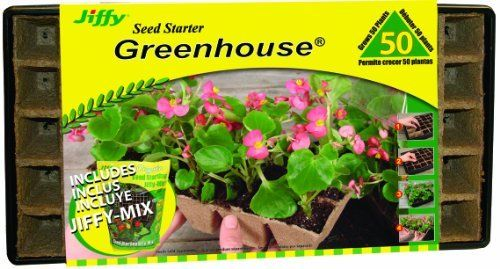 Jiffy 5774 Professional Greenhouse 50 Plant Starter Kit With Peat Strips Seed Starting Mix