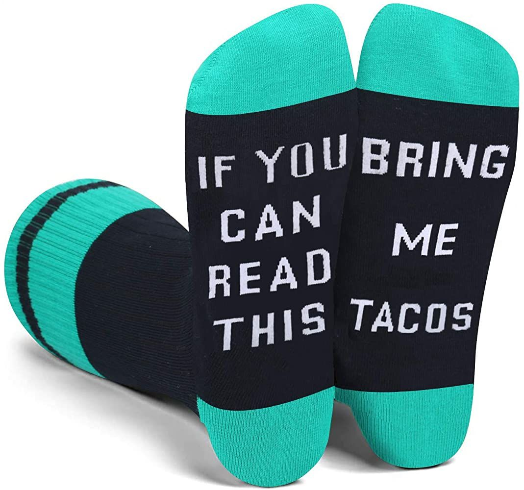Amazon Com Funny Saying If You Can Read This Bring Me Tacos Socks Funny Novelty Tacos Socks Gifts For Men Taco Lover Clothing Sock Gifts My Taco Taco Gifts