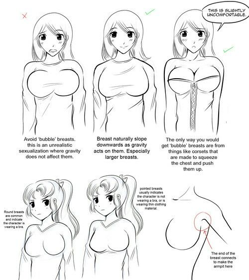 How to draw girls boobs