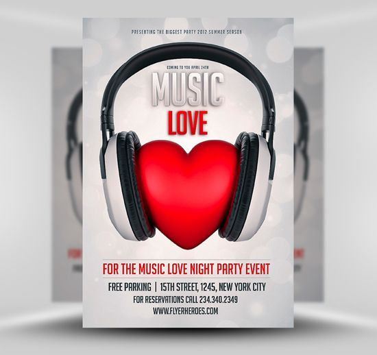 Free Music Love Club Flyer Template #FlyerHeroes #Saltshaker911 - love templates free