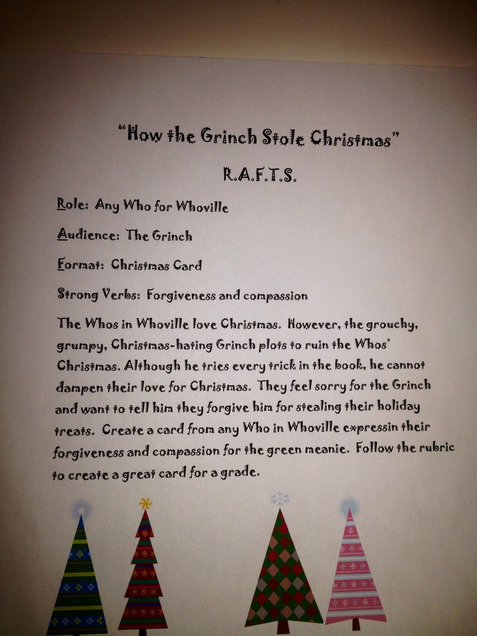 R A F T Writing Activity The Grinch For Christmas Christmas School Middle School Reading Christmas Classroom [ 2048 x 1536 Pixel ]
