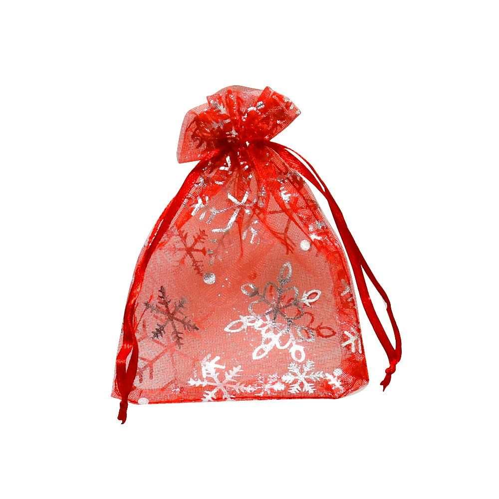 1a3525f09485 VIVOHOME Snowflakes Christmas Drawstring Organza Gift Bags Red 3.5 x ...