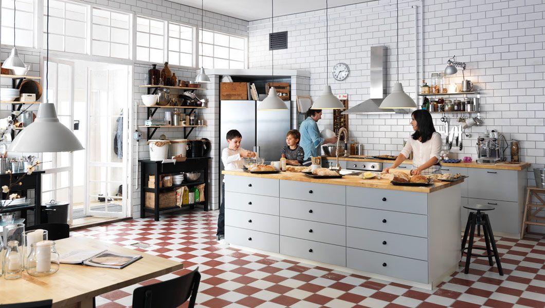 Ikea Pl Kuchnia Z Szarymi Frontami Szuflad I Drzwiami