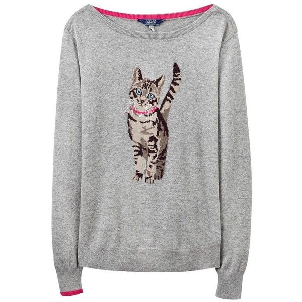 Women's Joules Marsha Jumper ($56) ❤ liked on Polyvore featuring tops, sweaters, wide neck sweater, cat print sweater, cat print top, jumpers sweaters and cat sweater