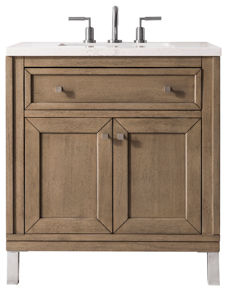 Chicago 30 Single Vanity White Washed Walnut Base Cabinet Only Transitional Bathroom Vanities And Sink Conso 30 Inch Vanity Vanity Single Bathroom Vanity