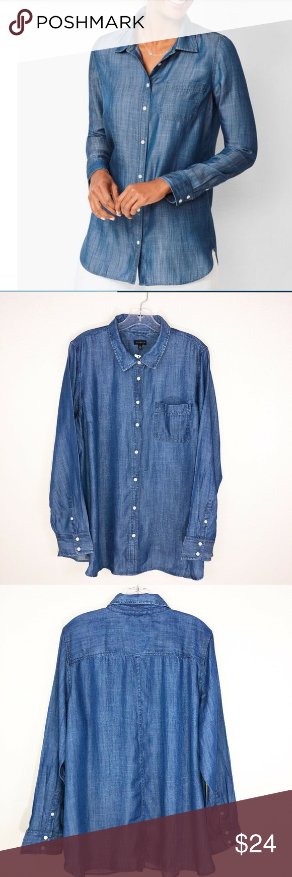 Talbots Classic Button Front Shirt Tencel Denim XL in 2020