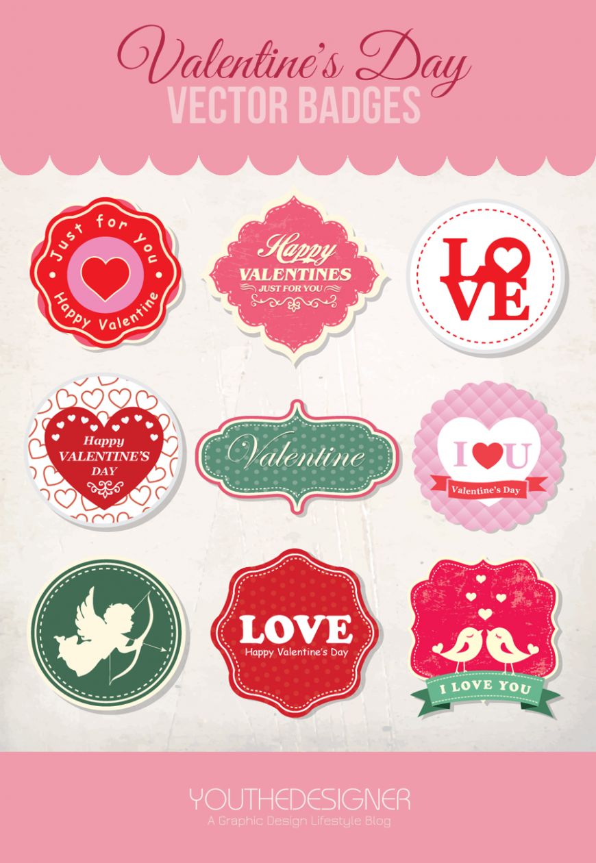 9 free valentines day vector badges