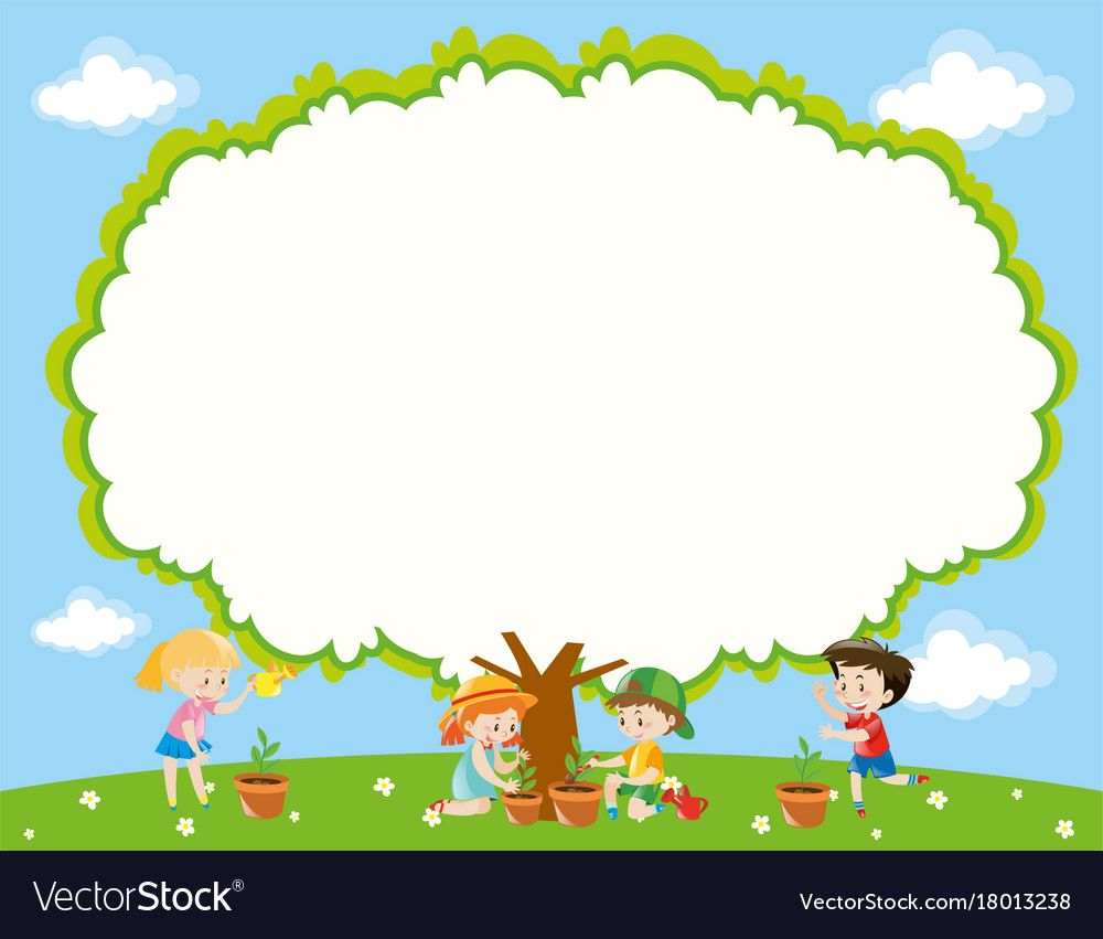 Frame Template With Kids Planting Tree In Garden Vector Image On Molduras Para Criancas Desenhos De Criancas Brincando Desenho De Crianca