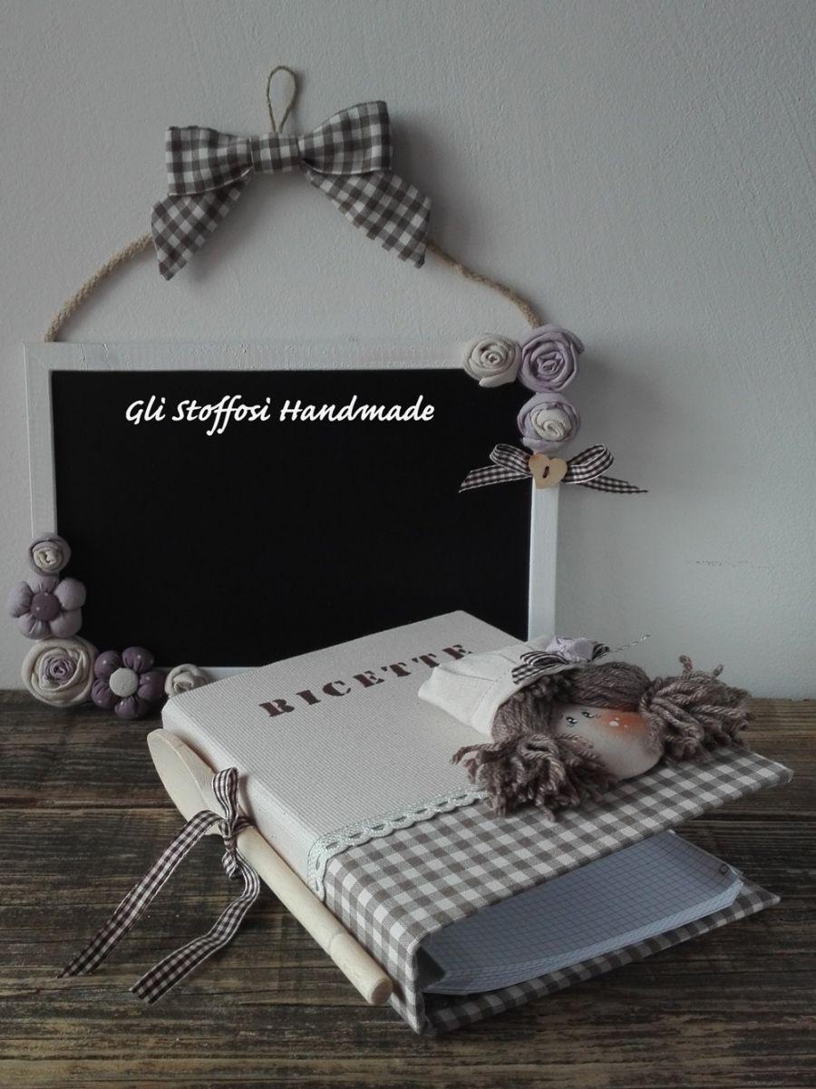 Set Ricettario e Lavagnetta con roselline | Lavagna da ...