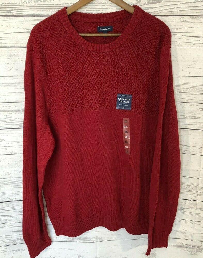 Croft Barrow Mens Crewneck Sweater Size 2xl Xxl Red Two Pattern Knit Nwt Croftbarro Crew Neck Sweater Men Black Leather Jacket Men Long Sleeve Denim Shirt [ 1000 x 787 Pixel ]