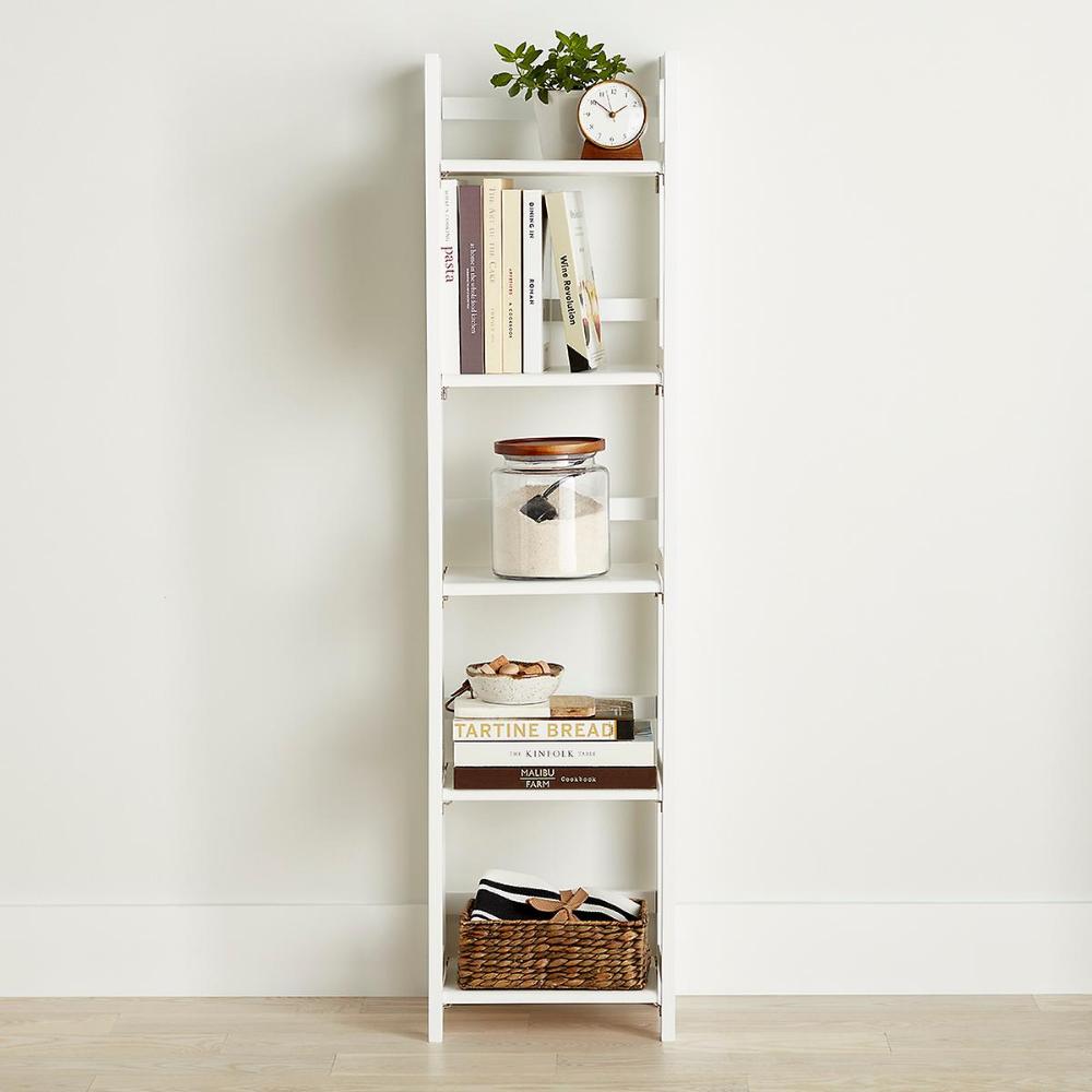 White Solid Wood Folding Tower Shelves Narrow Shelves Bookcase
