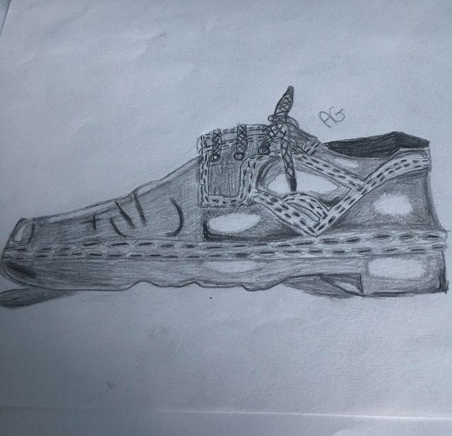 This is the first shoe I drew at school this year for our shoe project. What do you think? #drawing #shoeproject #art #artclass #shoe #tonalshading #school #artroom3 #exam #test #mansshoe #lighting #reference #whatdoyouthink #shadows #trainers